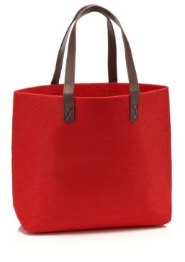 Red Felt Tote Bag with Leather Look Handles (12.25