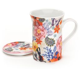Pink Multi Floral Mug with Lid in Gift Box, 8 oz.