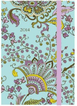 2014 Weekly Planner 4x6 Bombay Floral Aqua Flexi Engagement Calendar