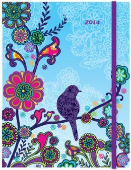 2014 Weekly Planner 7x9 Boho Bird Flexi Engagement Calendar