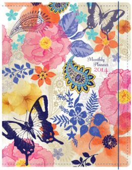 2014 Monthly Planner 7.5x9.75 Watercolor Butterfly Sewn Engagement Calendar