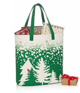 Cardinal in Trees Green Ombre Canvas Tote 18