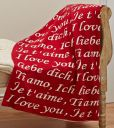 "Product Image. Title: I Love You Red & Ecru 100% Cotton Throw 50"" x 60"""