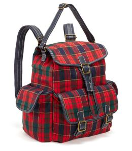 Bright Tartan Plaid Woven Backpack with Navy Faux Leather Handles (16