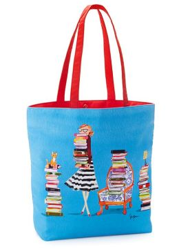 Bespectacled Book Lover Blue Tote with Poppy Red Handles 16.5