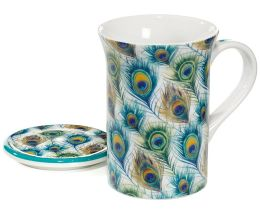 Peacock Feathers Mug with Lid in Gift Box, 10 oz.