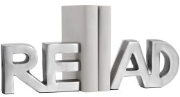 READ Letters Nickel Plate Aluminum Bookends -Set of 2- 15'' x 4.5''