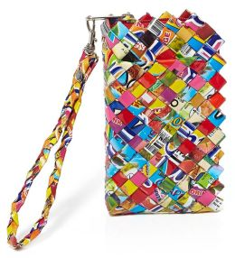 Multi Colors Recycled Juice Label Phone Pouch 6.5