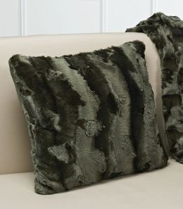 Plush Luxe Olive Faux Fur Throw Pillow 18'' x 18''