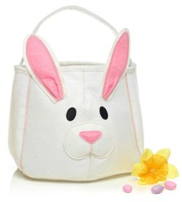 Easter Bunny White and Pink Felt Tote 11.5