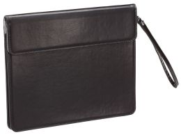 Black Bonded Leather Fold-over Tablet Holder with Strap Handle 10'' x 8'' x .87''