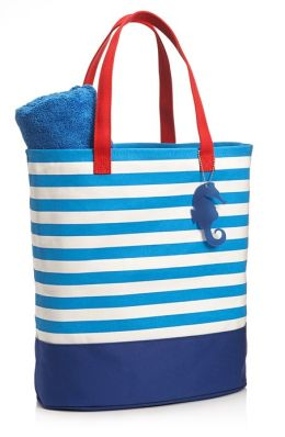 Blue French Stripe Canvas Summer Tote with Seahorse Charm (14'' x 16'' x 7'')