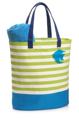 Lime French Stripe Canvas Summer Tote with Angelfish Charm (14'' x 16'' x 7'')