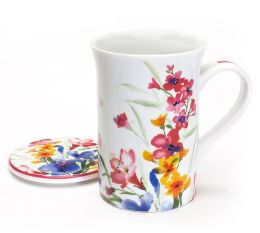 Water Color Floral Mug with Lid in Gift Box, 10 oz.