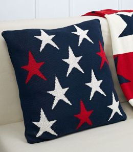 White & Red Stars on Navy Blue 100% Cotton Pillow 18'' x 18''