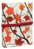 Product Image. Title: Foglie d'Autunno Off-White Italian Leather Journal with Red Tie 6'' x 8''