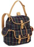 "Product Image. Title: Tartan Navy Woven Backpack with Tan Faux Leather Trim 11"" x 6.25"" x 13.25"""