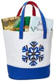 "Product Image. Title: Blue Snowflake Holiday Traditions Canvas Tote 18"" x 14.25"" x 7.25"""