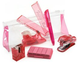Mini Pink Stationery Set in Pouch( 6 Items) (6.75''x2.75''x1.5'')