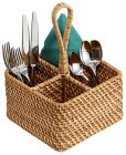 """Product Image. Title: Wicker Natural Picnic Utensil Caddy 8"""" x 8"""" x 11.5"""""""