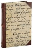 Product Image. Title: Poe Nevermore Script Bound Lined Journal with Leather Spine 6'' x 8''