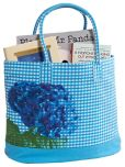 "Product Image. Title: Blue Gingham Cotton Tote with Photo Real Hydrangea Flower 16"" x 14"" x 7"""