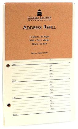 Address Book Refill Leather 6x8
