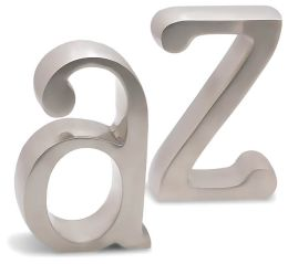 Satin Finish A to Z Bookends (Set of 2)