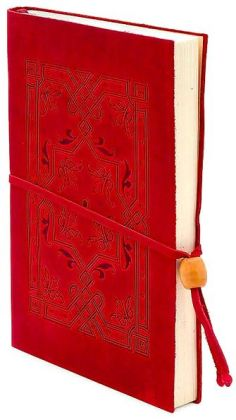 Embossed Red Italian Leather Journal with Bead Tie