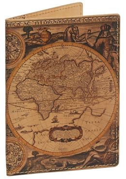 Antique Map Italian Leather Printed Passport Holder Case