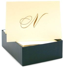 Engraved Gold Initial N Ecru Boxed Card set of 20