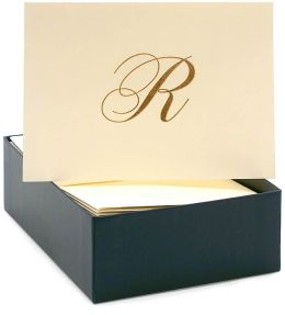 Engraved Gold Initial R Ecru Boxed Card set of 20