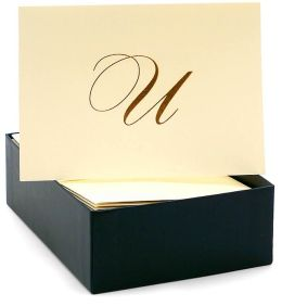 Engraved Gold Initial U Ecru Boxed Card set of 20