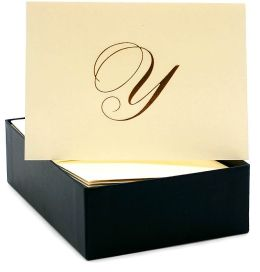 Engraved Gold Initial Y Ecru Boxed Card set of 20