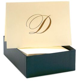 Engraved Gold Initial D Ecru Boxed Card set of 20