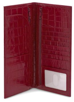 Red Crocodile Embossed Leather Travel Wallet