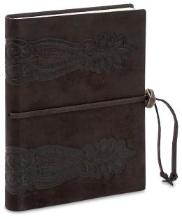 Brown Sforza Embossed Italian Suede Journal with Bead Tie (6