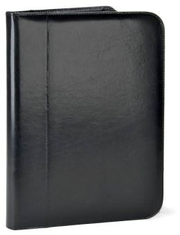 Black Deluxe Bonded Leather Business Folio Zipper w/Pad