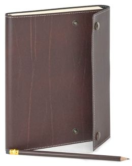 Chocolate Brown Italian Leather Snap Journal with Pencil