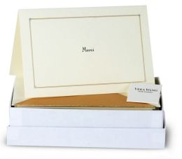 Box Card Merci Gold Engraved Thank You set of 10