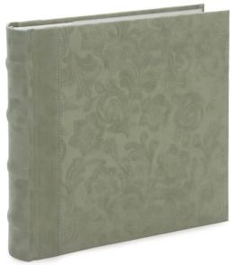 Sage Faux Suede Floral Embossed Photo Album