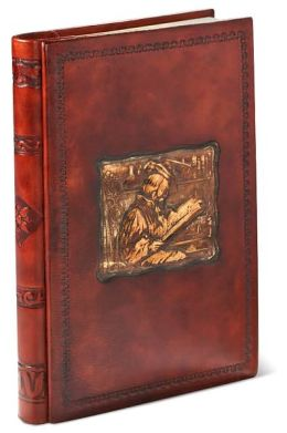 Leonardo with Book Brown Italian Leather Hardbound Journal 6x9