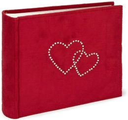 Red Faux Suede w/Double Rhinestone Heart Photo Album 4x6