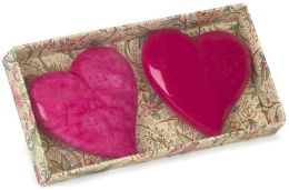 Miniature Alabaster Heart Paperweights, Set of 2 - Pink and Fuchsia