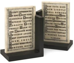 ABCs of Life Antique Finish Resin Bookends Set of 2