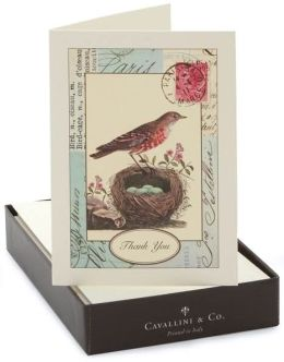 Box Card Bird Nest Thank You set of 10