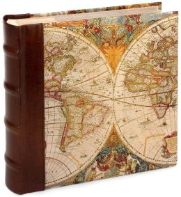 Antique Map and Brown Leather Photo Album