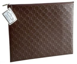 Jonathan Adler Bespoke Embossed Bonded Brown Leather Accessory Case (10x13)