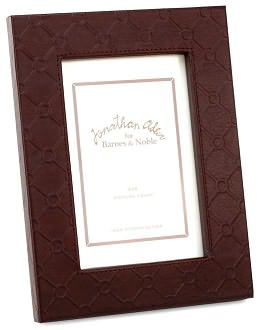 Jonathan Adler Bespoke Embossed Bonded Brown Leather Picture Frame (4