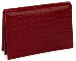 Red Croc Embossed Leather Business Card Holder